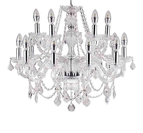 Diamond Life Classic Style 15-Light Chrome Finish Crystal Chandelier Pendant Ceiling Light Clear European Crystal, 27