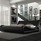 4ft6 Italian Designer Faux Leather Double Mallorca Bed Frame in BLACK