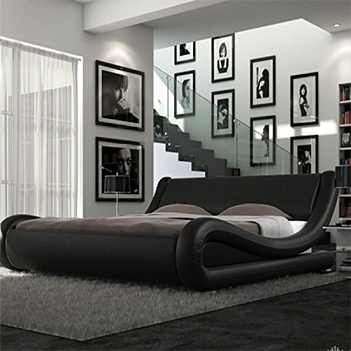 4ft6 Italian Designer Faux Leather Double Mallorca Bed Frame in BLACK by Frankfurt & Co Frankfurt Co