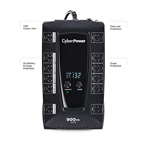 CyberPower AVRG900LCD 900VA UPS with LCD Display 2 750VA/450W AVR Battery Backup Uninterruptible Power Supply (UPS) System 12 NEMA 5-15R OUTLETS: (6) Battery Backup & Surge Protected Outlets, (6) Surge Protected Outlets safeguard desktop computers, workstations, networking devices and home entertainment equipment DATA LINE PROTECTION: Prevents power surges that travel through telephone, coaxial and Ethernet lines from causing damage to electronics