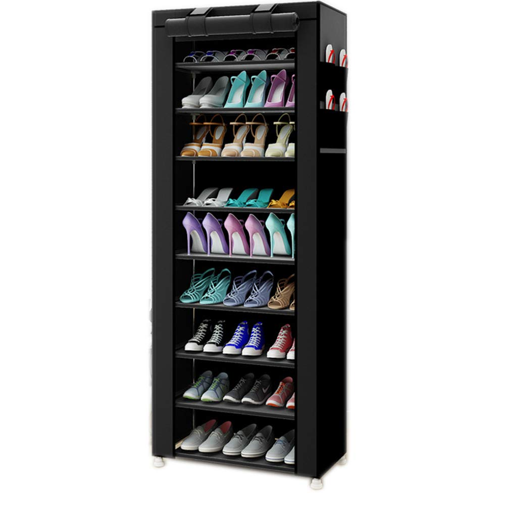 TXT&BAZ 27-Pairs Portable Shoe Rack with Nonwoven Fabric Cover (10-Tiers Black)