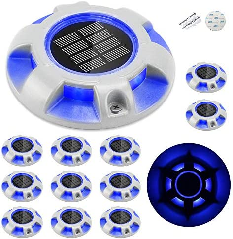 CHINLY Solar Dock Lights Outdoor Waterproof, LED Deck Light Driveway Lights for Marine Pathway Garden Yard Lamdscape Stair Step Markers 12pcs Blue