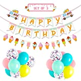 Ice Cream Party Favor Decorations Ice Cream Happy Birthday Banner Popsicle Garland Pastel Color Confetti Balloons (Ice Cream Party Favor)