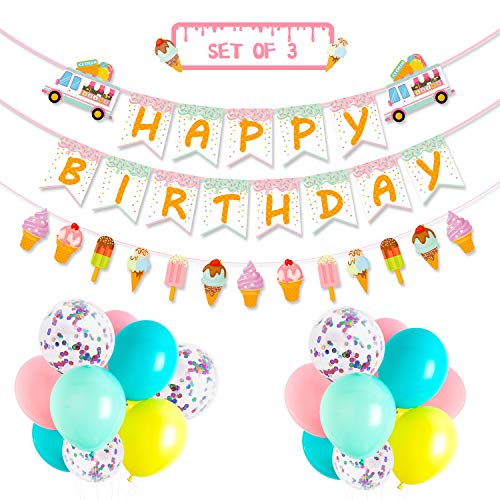 Ice Cream Party Favor Decorations Ice Cream Happy Birthday Banner Popsicle Garland Pastel Color Confetti Balloons for School Summer Kids Party Baby Shower Nursery Decoration Supplies, Set of -