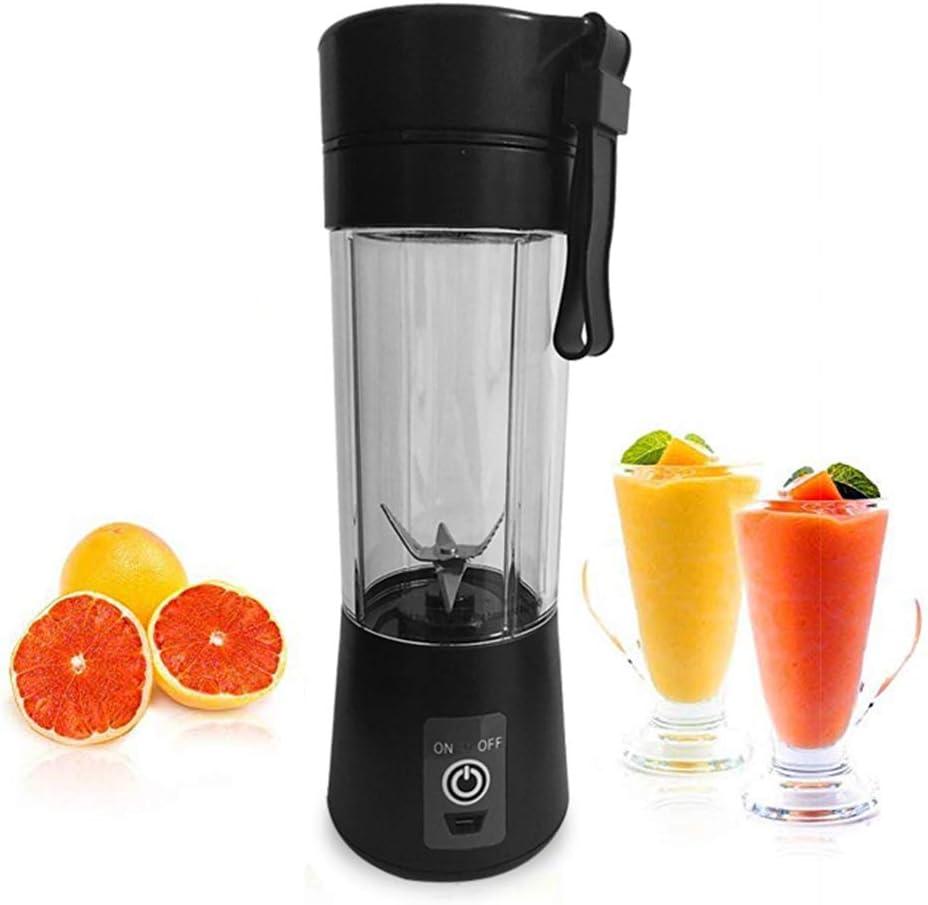 Yongqxxkj Batidora portátil, 400 ml, 6 Bebidas USB, carga Bebidas Smoothie Blender Juicer Fruit Mixer Cup, negro: Amazon.es: Deportes y aire libre