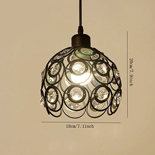 YANCEN Antique Black Metal Crystal Chandelier Lighting Hollow Pendant Light Ceiling Lamp Fixture E26 Bulb Painted Finish for Dining Room Bar Island by YANCEN (Image #8)