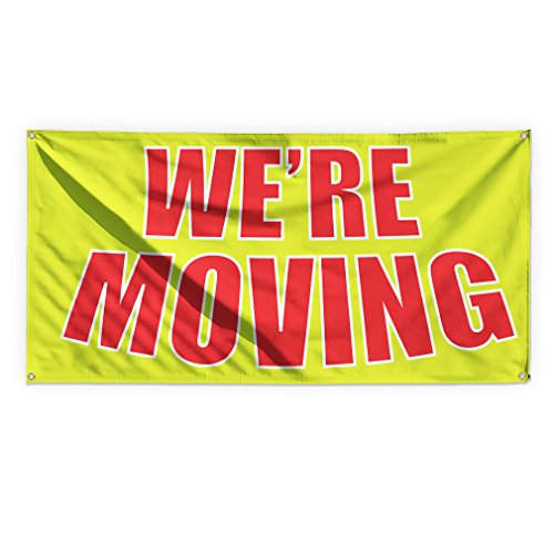 We'Re Moving #1 Outdoor Advertising Printing Vinyl Banner Sign With Grommets - 2ftx3ft, 4 Grommets by Sign Destination
