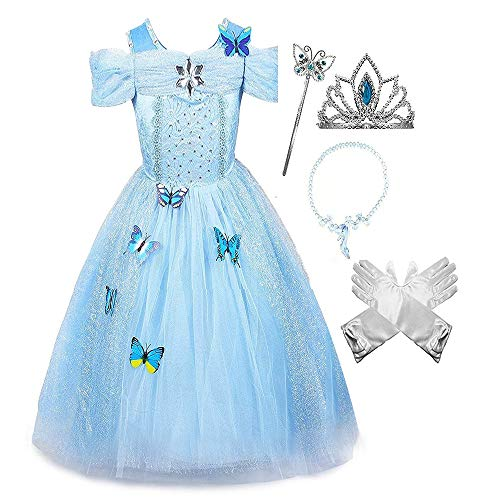 LET'S GO! Frozen Dresses for Girls 7-8, DIMY Princess Off Shoulder Layered Costume Dress for Girls Dress Up Clothes Size 7-8 Brithday for Girls Age 7-8 Fairy Costumes for Girls Blue DMTZ5 -