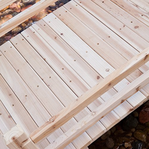 Attractive Design, Weather-Resistant 10-ft. Wood Garden Bridge with Rails - Assembly Required by Coral Coast (Image #3)