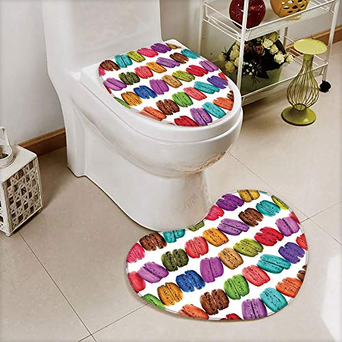 2 pcs Toilet Cover Set Non-Slip mat Bathroom Non-Slip mat,Macarons in a Row Coffee Shop Cookies Flavours Pastry,3D Print Heart Shape Toilet seat Cushion Customized Fashion