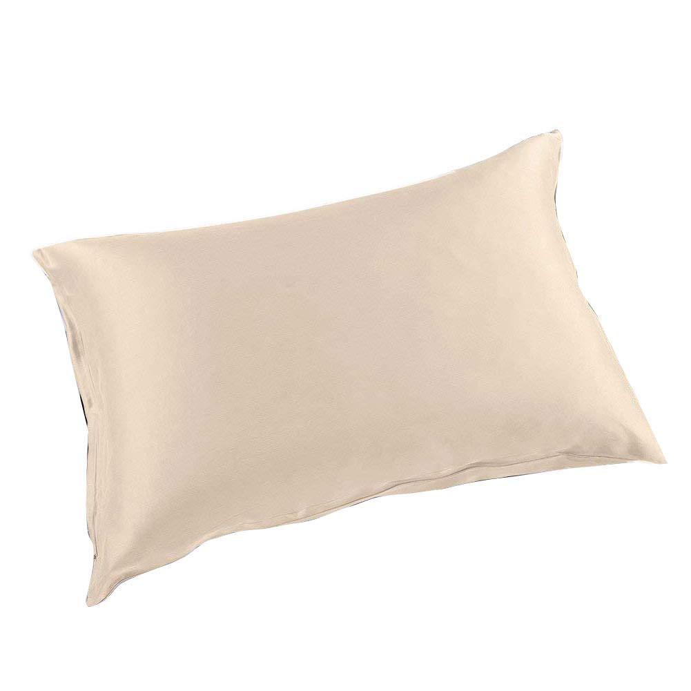 THXSILK Silk Pillowcase for Hair and Skin-Mulberry Silk Pillow Cover- with Hidden Zipper-22 Momme Natural Mulberry Silk on Both Sides (Vanilla, King)