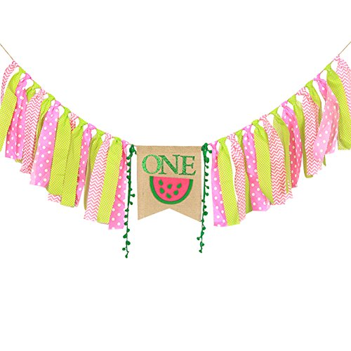 WAOUH High Chair Banner for 1st Birthday - First Birthday Decorations for Photo Booth Props, Birthday Souvenir and Gifts for Kids, Best Party Supplies (Watermelon)