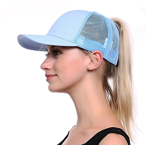 JAKY Global Ponytail Cap Messy Trucker Ponytail Adjustable Visor Mesh Baseball Cap Hat Unisex(Light Blue)
