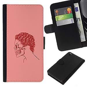 Stuss Case / Funda Carcasa PU de Cuero - Cráneo rosado del pelo - HTC DESIRE 816