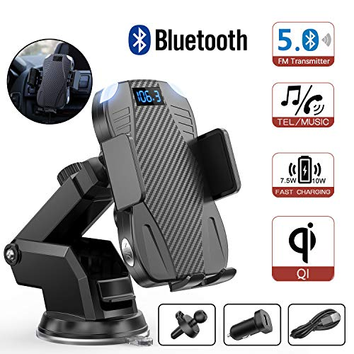 ENSFOUY Car Wireless Phone Charger Bluetooth FM Transmitter, 10W Qi Fast Charging Mount Auto-Clamping Stand for iPhone 11/11 Pro/11 Pro Max/Xs MAX/XS/XR/X/8/8+, Samsung Galaxy S10/S10+/S9/S9+/S8/S8+ (Best Car Fm Transmitter For Iphone)