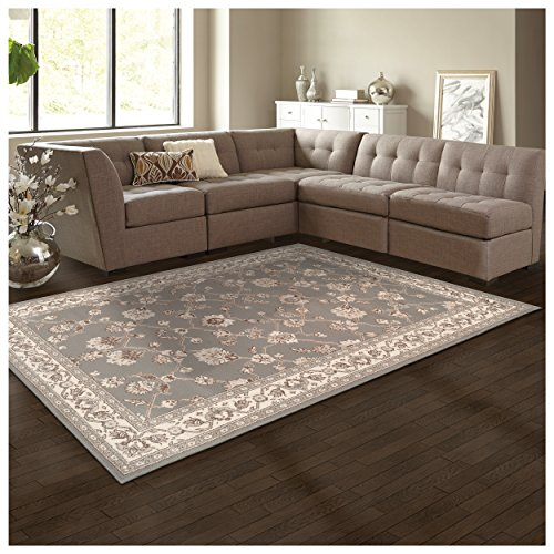 Superior Elegant Kingfield Collection Area Rug, 8mm Pile Height with Jute Backing, Classic Bordered Rug Design, Anti-Static, Water-Repellent Rugs - Slate, 27 x 8 Runner