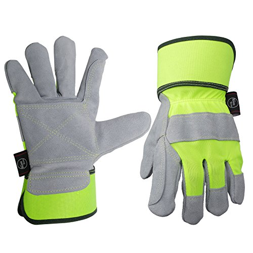 Leather Work Gloves,Perfect for Yard Work, Gardening, Construction, Warehouse, Heavy Duty Working, Motorcycle, Men&Women M
