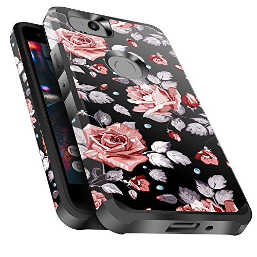 Google Pixel 2 Case Shockproof, Miss Arts Slim Anti-Scratch Protective Kit with [Drop Protection] Heavy Duty Dual layer Hybrid Sturdy Armor Cover Case for Google Pixel 2 -Rose Gold Flower / Black