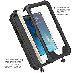 ZVE Snowproof Dirtproof Shockproof Waterproof Full Sealed Protection Case for Apple iPhone SE/5S - Black