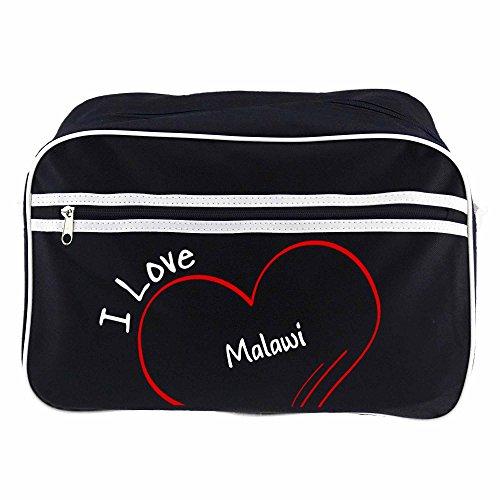 Retrotasche Modern I Love Malawi schwarz