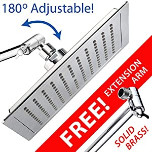 AquaSpa Giant 10.5 inch diagonal Square Rain Shower Head PLUS 11-inch Solid Brass Angle Adjustable Extension Arm. 121 Jets with Rub-Clean Nozzles. Front and Back All-Chrome Finish. Sleek Square Design