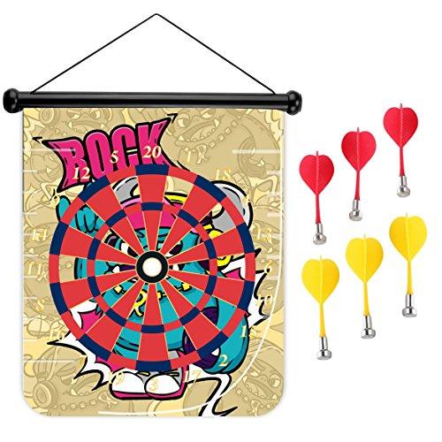 15インチMagnetic Dart Board Double Sided Hanging Dart Board Set and Bullseyeゲーム。Rock