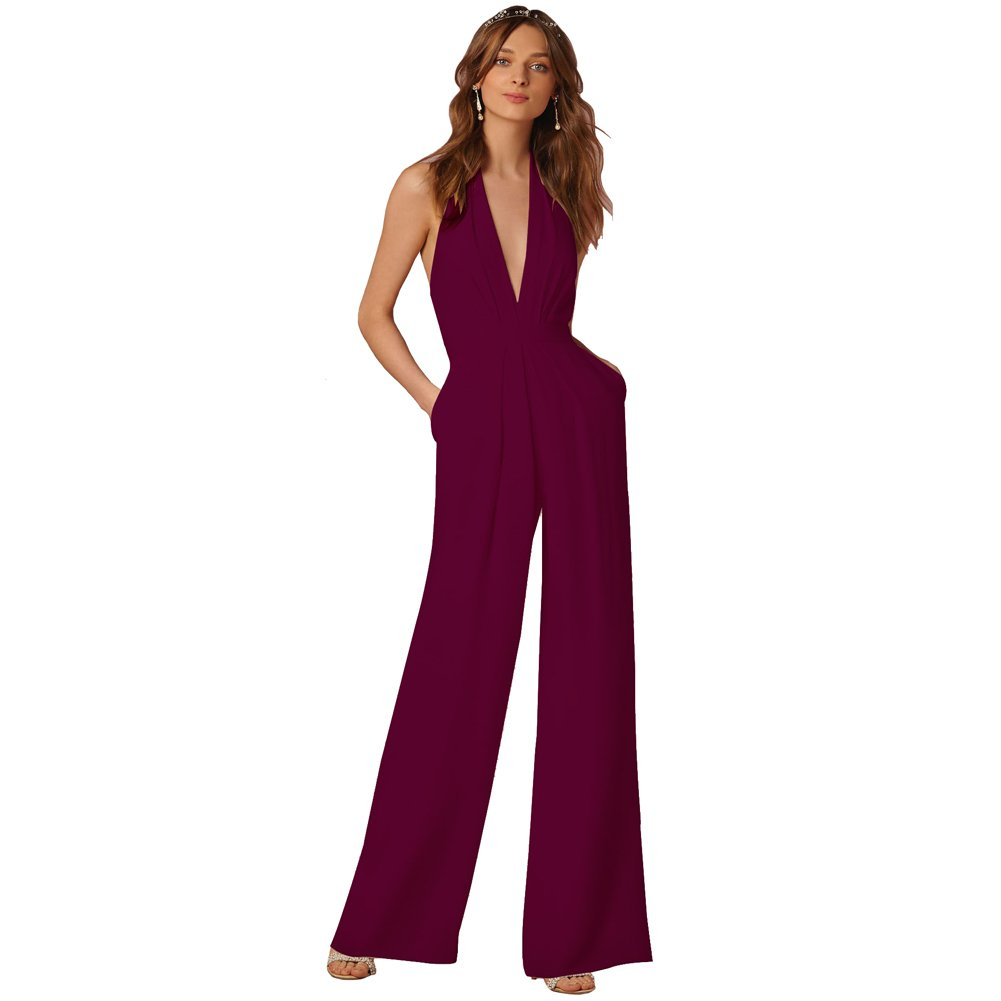 3389d39e84c3 Amazon.com  Lielisks Sexy Jumpsuits Formal Sleeveless V-Neck Halter Wide Leg  Long Pants  Clothing