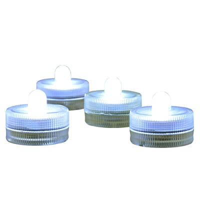 Submersible LED Lights cr2032 Battery Powered Underwater Waterproof LED Tea Light Candles for Events Wedding Centerpieces Vase Floral Xmas Holidays Home Decor Lighting(Pack of 12) (White): Home Improvement