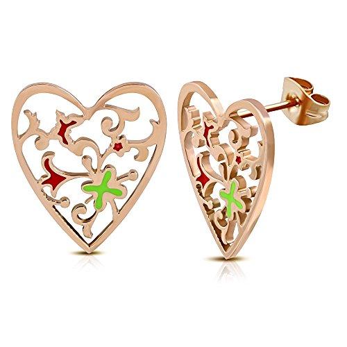 Rose/ Pink Gold Color Plated Stainless Steel Enameled Flower Love Heart Stud Earrings (pair) - DEB126