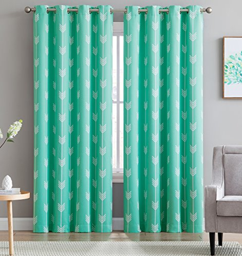 Blackout Room Darkening Thermal Grommet Window Curtain Drape Panels for Kids Room - Set of 2 - Mint Green - 96