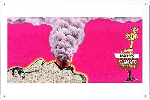 Mott's Clamato Juice Volcano Retro Vintage Custom Metal Tin Sign Home House Coffee Beer Drink Bar