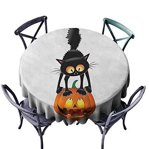 G Idle Sky Halloween Waterproof Tablecloth Black Cat on Pumpkin Drawing Spooky Cartoon Characters Halloween Humor Art Easy Care D59 Orange Black -