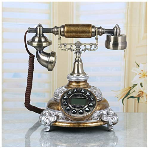 SMC Hands-Free Phone Resin Handle Landline Home Fixed Retro Phone Creative Vintage Screen Backlight Fashion (Color : Copper) from SMC Telephone