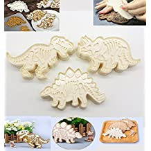 Cookie Cutters, KOOTIPS 3Pcs/set Dinosaur Jurassic Baking Fondant Cookie Cutters Cake Decoration