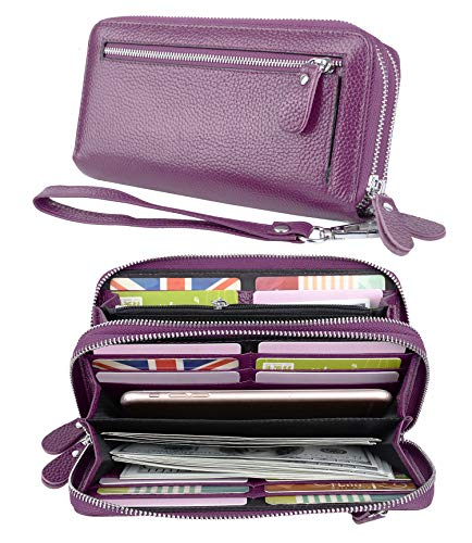 YALUXE Women's RFID Blocking Security Double Zipper Large Smartphone Wristlet Leather Wallet Purple