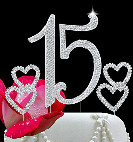 Gorgeous Bling (Deluxe Quinceanera 15 Number Cake Topper In Crystal Rhinestones - Plus 2 Gorgeous Crystal Rhinestone Hearts - Bling Topper USA)