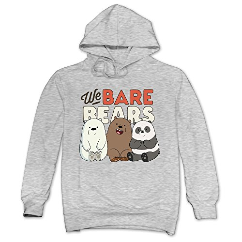 XJBD Men's Cute Bear Attractive Hoodie Ash Size S (Cute Halloween Wallpaper Iphone)