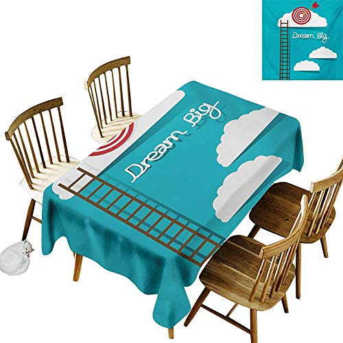 DUCKIL Fabric Dust-Proof Table Cover Inspirational Dream Big Phrase with Dart Board Fluffy Clouds Staircase Optimistic Attitude Picnic W70 xL102