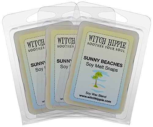 3 Soy Wax Tarts - Witch Hippie Sunny Beach Scented Wickless Candle Tarts 3 Pack, 18 Natural Soy Wax Cubes, A Tranquil Blend Of Orange Blossom, Lavender, Jasmine, Rose & A Base Note Of Musk