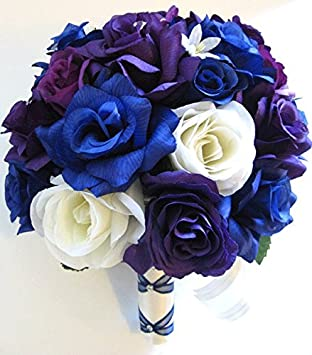Amazon.com: Wedding flowers silk Bridal bouquet 17 piece Package ...