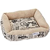 OxGord Pet Bed for Cat and Dog Crate Pad - Deluxe Premium Bedding with Cozy Inner Cushion- 2017 Newly Designed Model - 1800's Newspaper Design