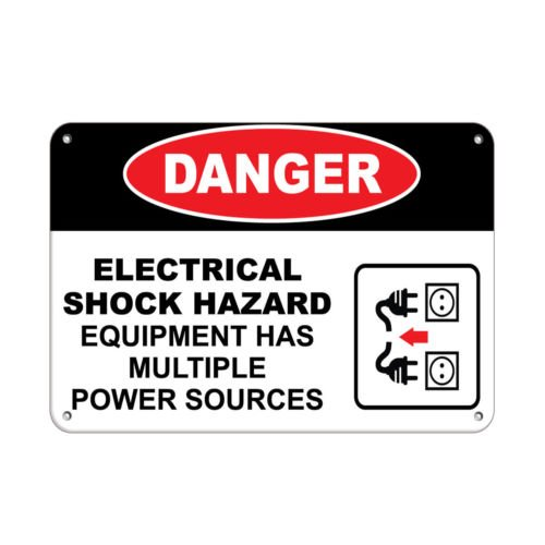 Sign Danger Electrical Shock Hazard Multiple Power Source Style 1 Aluminum Metal by Sign (Image #1)