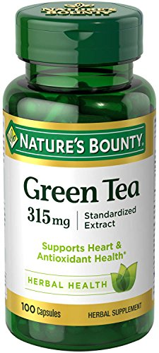 (Nature's Bounty Green Tea Pills and Herbal Health Supplement, Supports Heart and Antioxidant Health, 315mg, 100 Capsules)