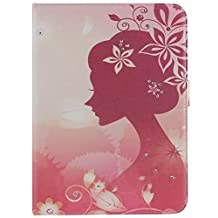 Samsung Galaxy Tab 4 10.1 Cover - [#5 Butterfly Flower Fairy Angel Girl with Elegant 3D Bling Crystal Rhinestone Style] Slim Fit Lightweight PU Leather Shell Flip Cover Stand Case for Samsung Galaxy Tab 4 10.1 inch T530 Tablet Tablet