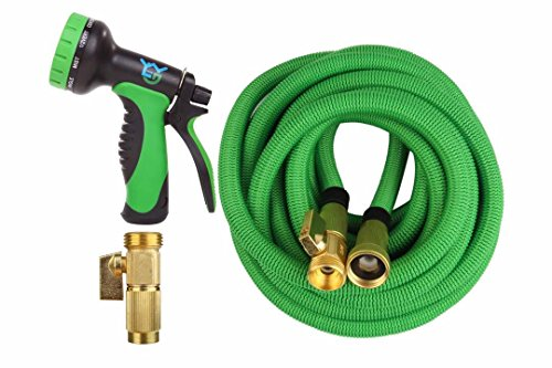Expandable Garden Hose – 50 ft Best Flexible Expanding Water Hose  – 10 Function Spray Nozzle Set –  Solid Brass Fittings, Triple Latex Pipe, Strongest Green Webbing, Lightweight  Kinkfree