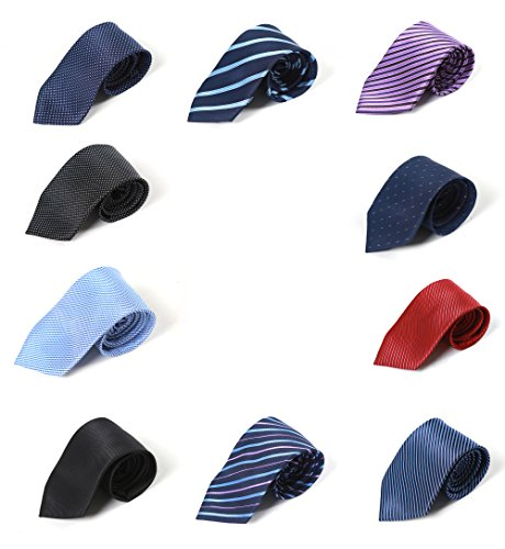 Set of 10 HBY Men's Fashion Daily Formal And Casual Classic Woven Men's Tie