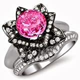Smjewels 3.35 Ct Round Pink Sapphire Lotus Flower Engagement Ring Set In 14K White Gold Plated