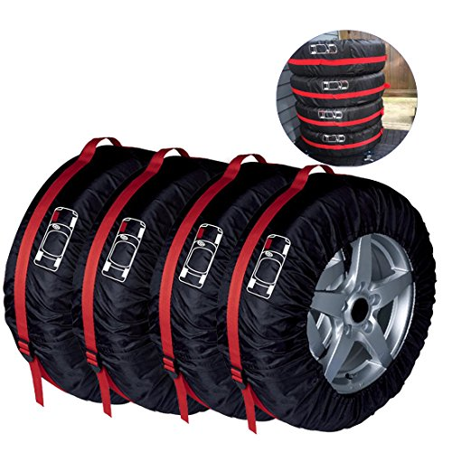 4 Pcs Tire Tote FLR 66cm/26in Diameter Foldable Spare Tire Covers Protection Covers Storage Bags Wheel Cover for Car Off Road Truck Black & Red
