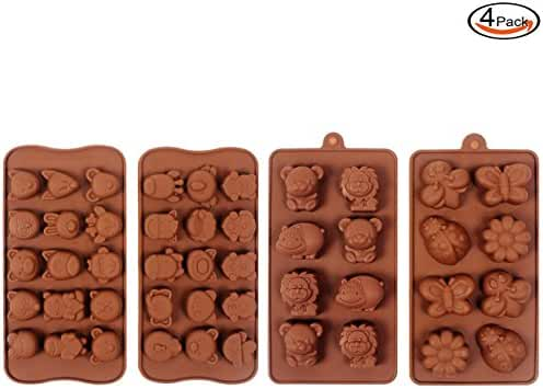 Outuxed 4 Pcs Animal Silicone Molds for Chocolate Candy Ice Cube Making