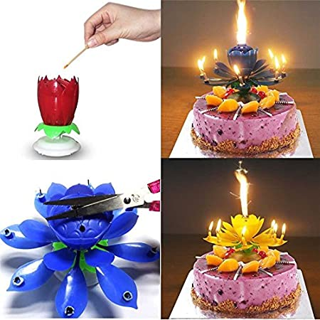 Sinfore 3pcs Set of the Amazing Two Layers with 14 Small Candles Lotus Happy Birthday Spin Singing Romantic Musical Flower Party Light Intelligent Decorative Cake Candles 3pcs Blue